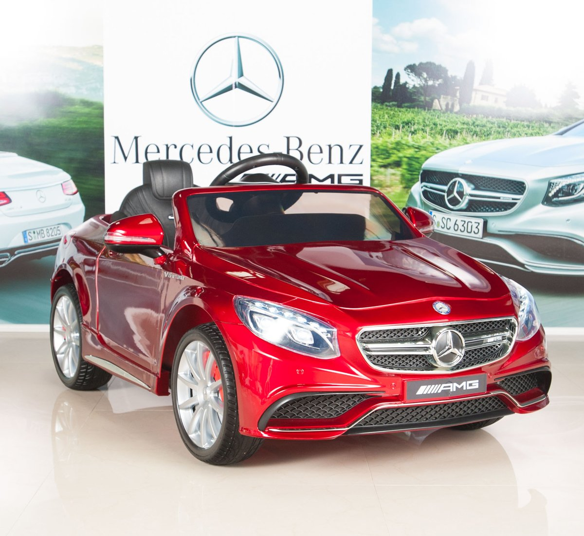 Mercedes benz s63 red amg licensed mainan mobil aki for Red mercedes benz power wheels